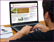 Young man looking at the ODS Web  site on a laptop