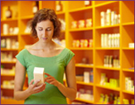 Woman examining dietary supplements