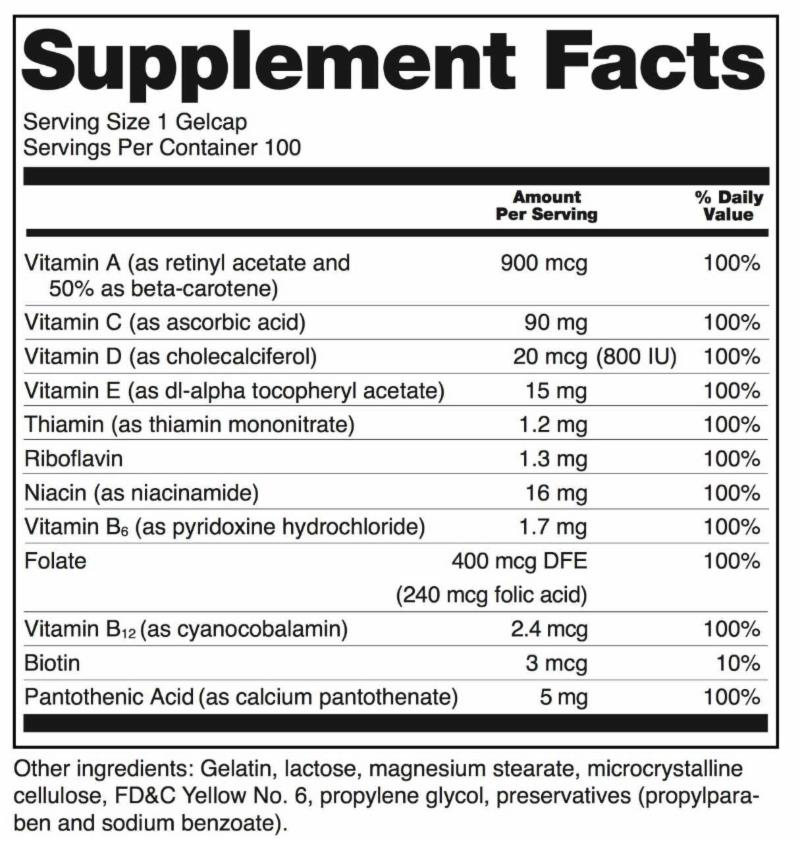 sample Supplement Facts label