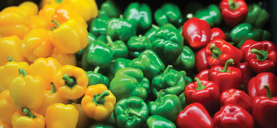 yellow, green, and red bell peppers