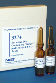 NIST Standard Reference Material vials for omega-3 fatty acids