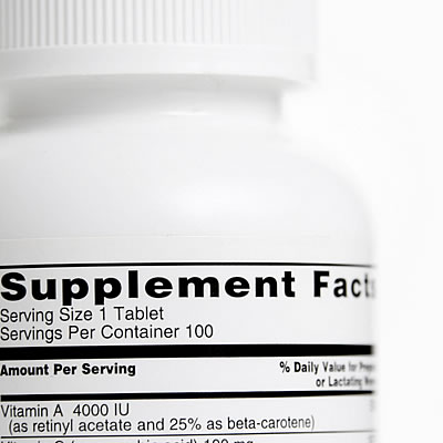 label on bottle of dietary supplements