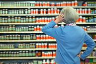 Senior woman shopping for supplements