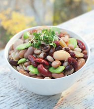 A bowl of beans prepared as a salad