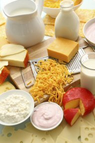 An assortment of calcium-rich foods including milk and cheese
