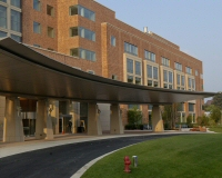 The front entrance to the Clinical Research Center at NIH