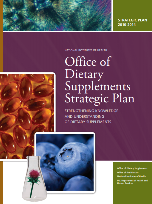 """Strengthening Knowledge and Understanding of Dietary Supplements"" strategic plan cover"