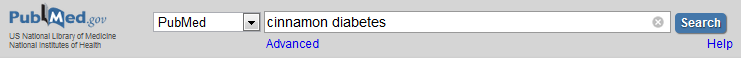 Image of PubMed search with the words cinnamon diabetes in the search box.