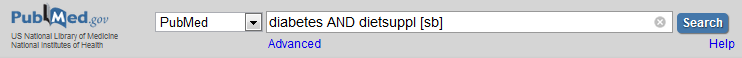 Image of PubMed search with the words diabetes AND dietsuppl [sb] in the search box.